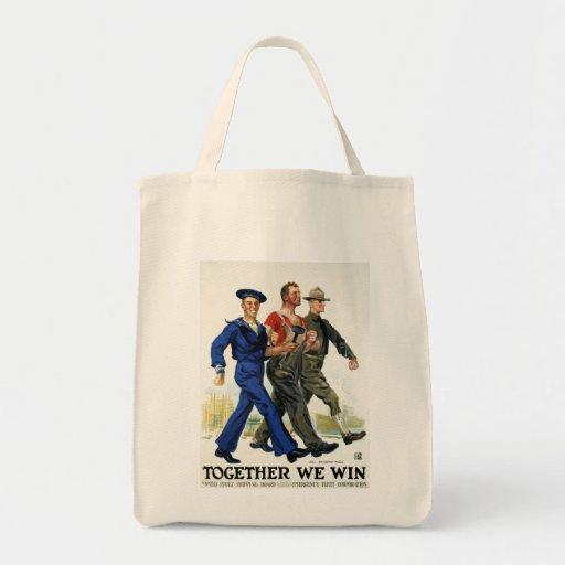 Juntos ganamos, poster del vintage WWI Bolsa Tela Para La Compra
