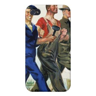 Juntos ganamos, poster del vintage WWI iPhone 4/4S Carcasas