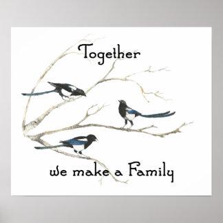 Juntos hacemos que el pájaro de la urraca de la fa impresiones