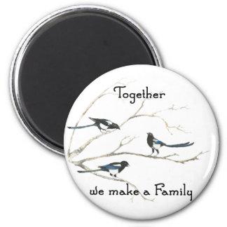 Juntos hacemos un pájaro de la urraca de la cita d imanes para frigoríficos