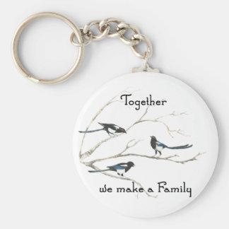 Juntos hacemos un pájaro de la urraca de la cita d llavero redondo tipo pin