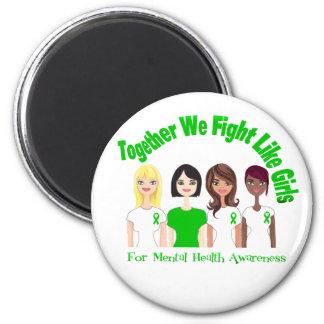 Juntos luchamos como salud mental de los chicas imán de nevera