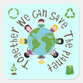 Juntos podemos ahorrar el planeta pegatina cuadrada