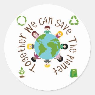 Juntos podemos ahorrar el planeta pegatina redonda