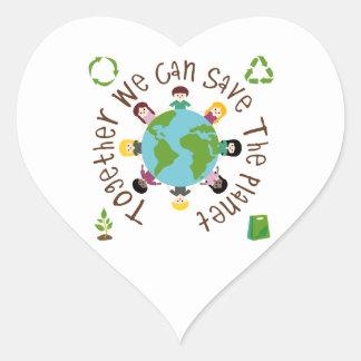 Juntos podemos ahorrar el planeta pegatina en forma de corazón