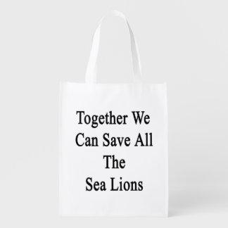 Juntos podemos ahorrar todos los leones marinos bolsa reutilizable