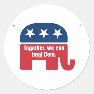 ¡Juntos podemos batir el Dem! Pegatina Redonda
