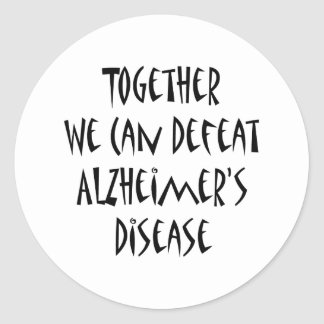 Juntos podemos derrotar la enfermedad de Alzheimer Pegatina Redonda