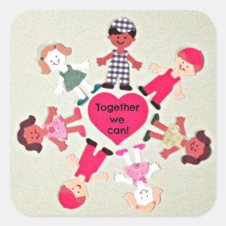 ¡Juntos podemos! Pegatina Cuadrada