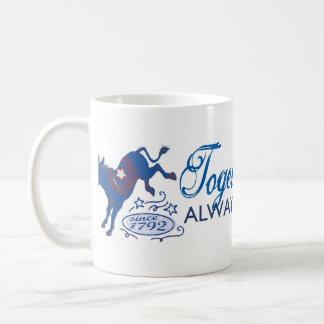 Juntos podemos taza azul del retroceso del burro
