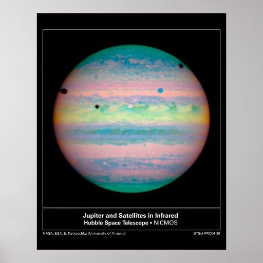 Jupiter&SatellitesInIR-2004-3 Print