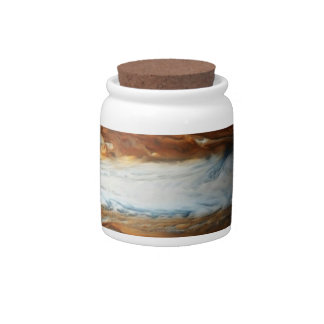 Jupiter and Earth Comparison Candy Jar