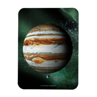 Jupiter and Earth Comparison Flexible Magnets
