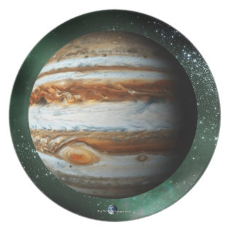 Jupiter and Earth Comparison Party Plates