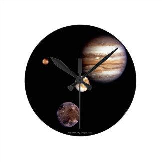 Jupiter and its Moons Round Clock