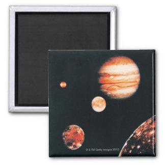 Jupiter and The Galilean Satellites Refrigerator Magnets