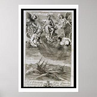 Jupiter Casts a Storm Upon the Ocean, illustration Poster