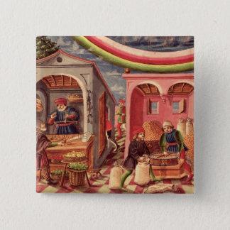 Jupiter, detail of fruit and grain merchants pinback button