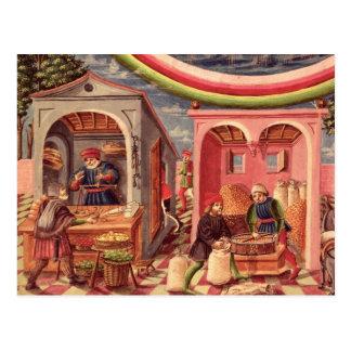 Jupiter, detail of fruit and grain merchants postcard