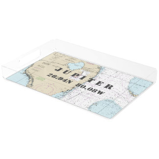 Jupiter FL Nautical Chart Latitude Longitude Acrylic Tray