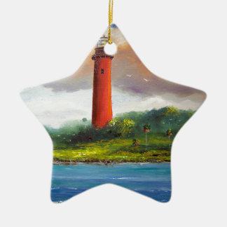 Jupiter Florida Lighthouse Double-Sided Star Ceramic Christmas Ornament