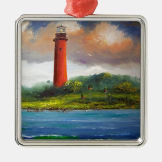 Jupiter Florida Lighthouse Square Metal Christmas Ornament