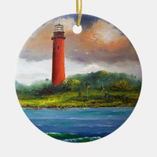 Jupiter Florida Lighthouse Double-Sided Ceramic Round Christmas Ornament