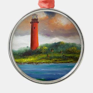 Jupiter Florida Lighthouse Round Metal Christmas Ornament