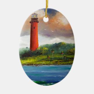 Jupiter Florida Lighthouse Double-Sided Oval Ceramic Christmas Ornament