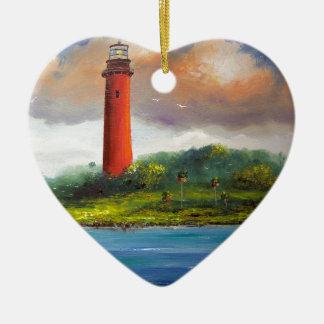 Jupiter Florida Lighthouse Double-Sided Heart Ceramic Christmas Ornament