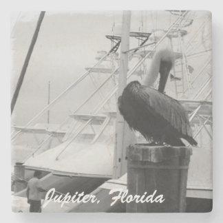 Jupiter, Florida Marina & Pelican Photo Coaster