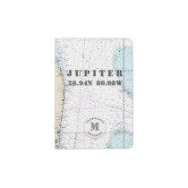 Jupiter, Florida Monogram Nautical Chart Passport Holder