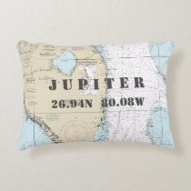Jupiter, Florida Nautical Chart Latitude Longitude Decorative Pillow