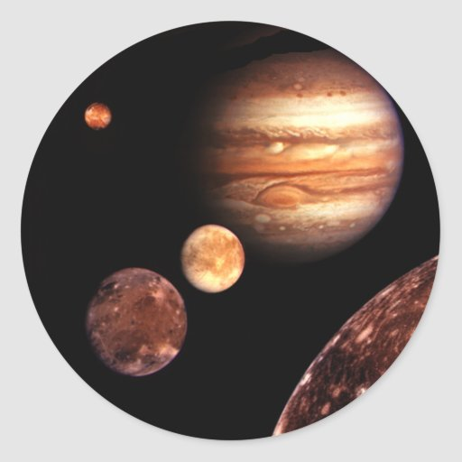 Jupiter Galilean Moons Space & Astronomy Gifts Round Sticker