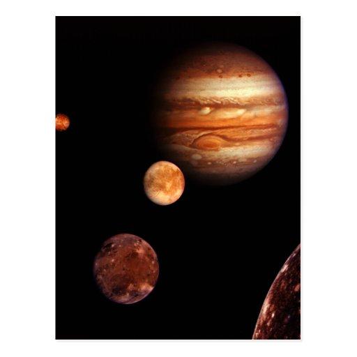 Jupiter Galilean Satellites NASA Post Card