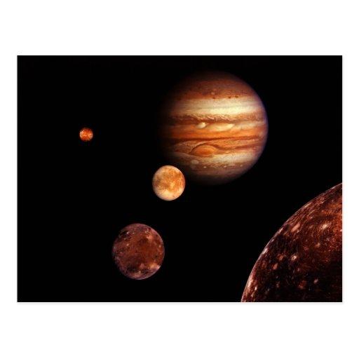 Jupiter Galilean Satellites NASA Postcard