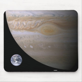 Jupiter Great Spot and Earth Compared Mouse Pad