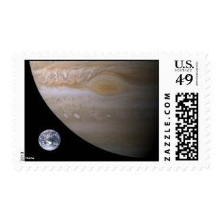 Jupiter Great Spot and Earth Compared Postage