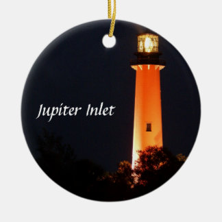 Jupiter Inlet Lighthouse Double-Sided Ceramic Round Christmas Ornament
