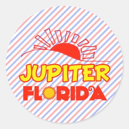 Júpiter, la Florida Pegatina Redonda