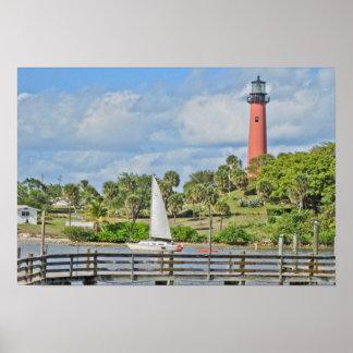 Jupiter Lighthouse and Sailboat Poster