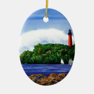 Jupiter Lighthouse III Double-Sided Oval Ceramic Christmas Ornament