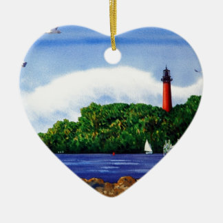 Jupiter Lighthouse III Double-Sided Heart Ceramic Christmas Ornament