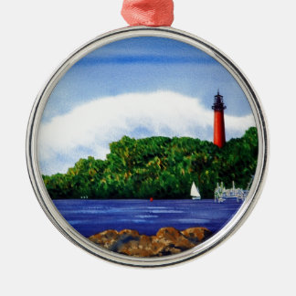 Jupiter Lighthouse III Round Metal Christmas Ornament
