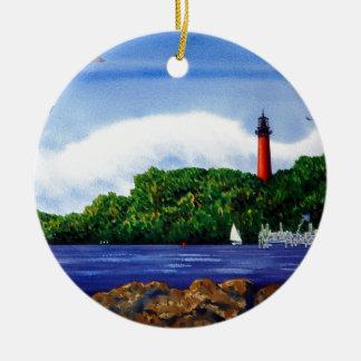 Jupiter Lighthouse III Double-Sided Ceramic Round Christmas Ornament