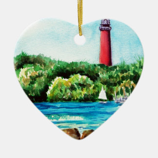 Jupiter Lighthouse Double-Sided Heart Ceramic Christmas Ornament