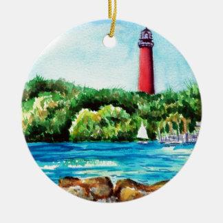 Jupiter Lighthouse Double-Sided Ceramic Round Christmas Ornament