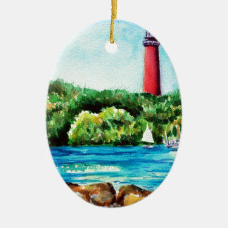 Jupiter Lighthouse Double-Sided Oval Ceramic Christmas Ornament