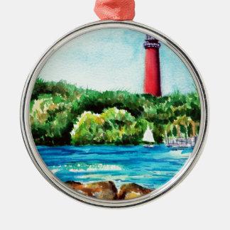 Jupiter Lighthouse Round Metal Christmas Ornament