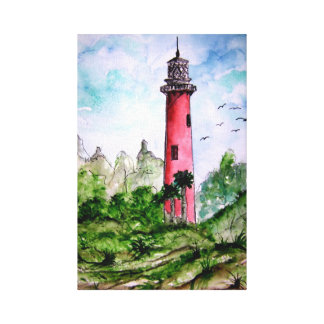 Jupiter lighthouse painting Florida Canvas Print